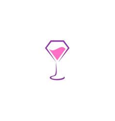 glass wine art logo vector image