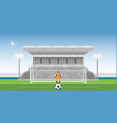 goalkeeper prepares to take a penalty kick on the vector image