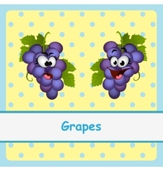 Grapes funny characters on yellow background vector