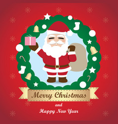 Greeting card christmas card with santa claus vector