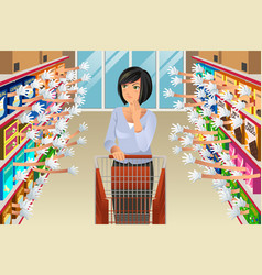 Grocery shopping woman with many choices vector