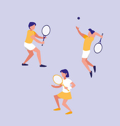 group people practicing tennis avatar character vector image