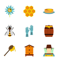 healthy food production icons set flat style vector image