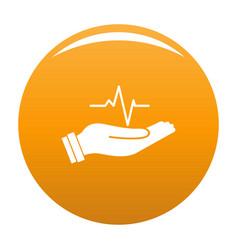 Heartbeat icon orange vector