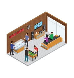 Home game club interior isometric composition vector