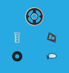 icon flat component set of tire mirror wing vector image