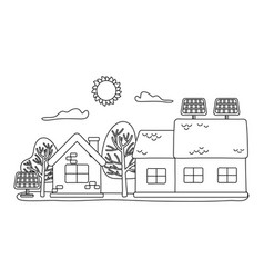 isolated house and solar panel design vector image