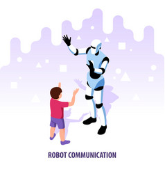 isometric robot communication composition vector image