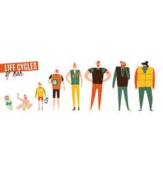 Life cycles man set vector