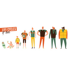 Life cycles of man set vector