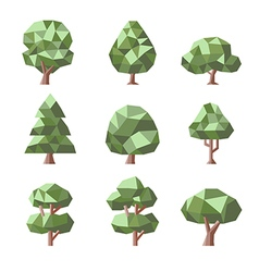 Low poly tree set vector