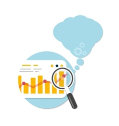 Magnifying glass and chart with bubble vector image