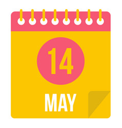 May 14 calendar icon isolated vector