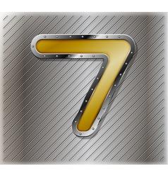 Metallic number seven vector image
