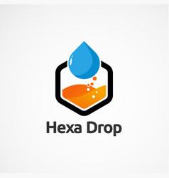 Modern hexagon drop logo concept icon element and vector