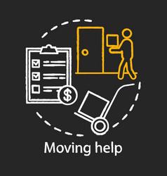 Moving help chalk concept icon home service idea vector