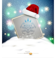 New Year and Christmas with a sign blank standing vector