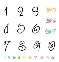 Numbers 0-9 written with a brush vector image