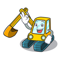 Okay excavator character cartoon style vector