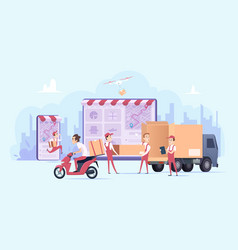 online delivery fast digital shopping and urban vector image
