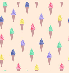 pattern with colorful cute cartoon ice cream vector image