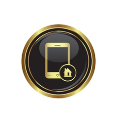 Phone icon with home menu vector image