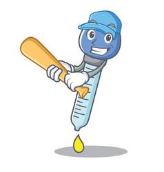 Playing baseball dropper character cartoon style vector