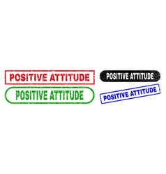 Positive attitude rectangle stamps with corroded vector