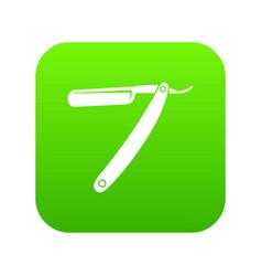 razor blade icon digital green vector image