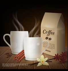 realistic cup coffee and toppings vector image