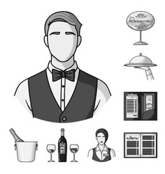 Restaurant and bar monochrome icons in set vector