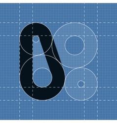 Round engineering font Symbol 0 vector image