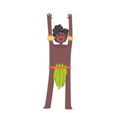 Scared black skinned man aborigine stands vector