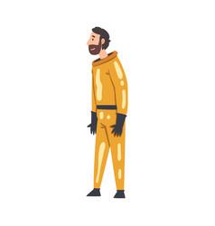 Scientist in orange protective suit working in vector