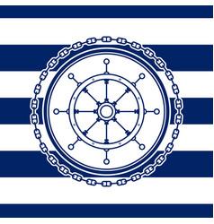 Sea emblem with ships wheel vector