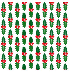 seamless pattern with holly berry vector image