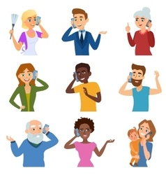 Set calling mobile business adult people vector
