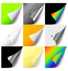 Set colorful curled corners vector