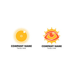 set eye sun icon logo design element vector image