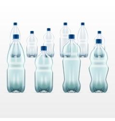 set of blank plastic blue water bottles vector image