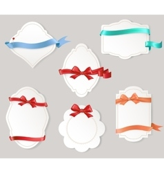 Set of paper form with satin ribbons and bows vector