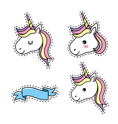 Set unicorn head with hairstyle and ribbon design vector