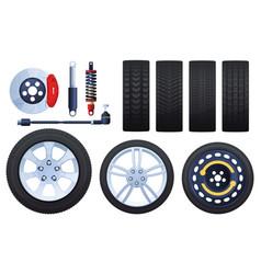 Set wheels brakes shock absorbers tires vector