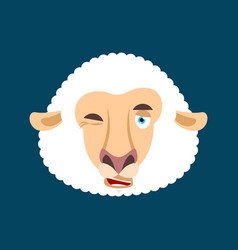 sheep winking face avatar ewe farm animal happy vector image