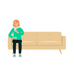 single woman with beverage sitting on couch vector image