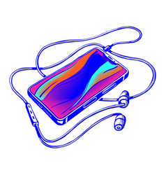 smart phone with headphones vector image