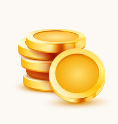 Stack golden coins isolated on white background vector