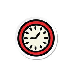 sticker of a cute cartoon wall clock vector image