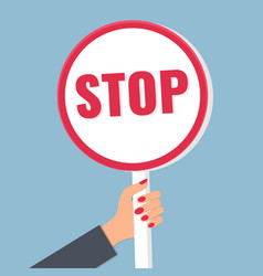Stop concept stop sign in female hand vector