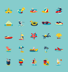 Summer beach retro icons background set vector